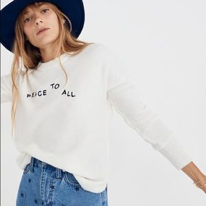 Madewell white holiday peace to all wool sweater